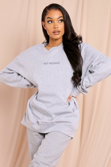Grey marl Not Average Slogan Oversized Sweatshirt