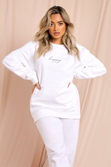 White Happy Slogan Oversized Sweatshirt