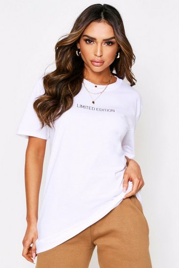 Womens White Limited Edition Slogan Oversized Tee