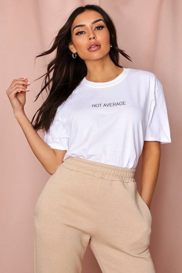 White Not Average Oversized T Shirt