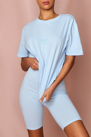 Blue Happy Slogan Oversized Tee