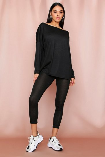 Black Oversized Slash Neck Lounge Set
