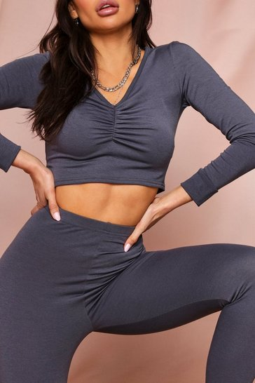 Womens Ink Ruched Top & Jogger Lounge Set
