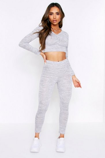 Womens Light grey Ruched Top & Jogger Lounge Set