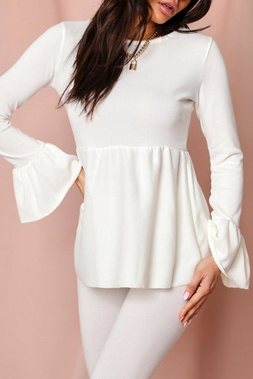 Cream Ruffle Hem & sleeve Detail Lounge Set