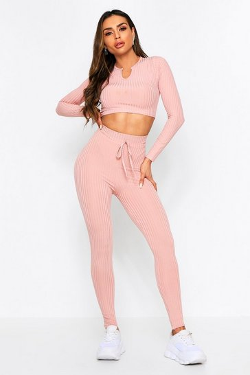 Womens Blush Notch Neck & Legging Co Ord