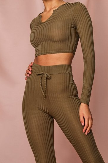 Womens Khaki Notch Neck & Legging Co Ord