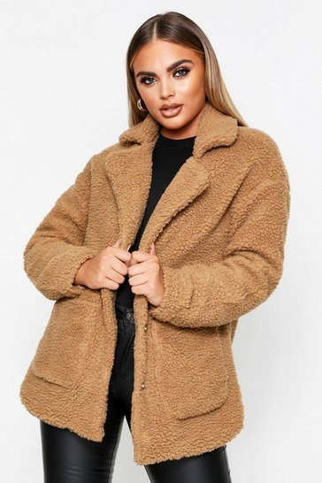 Womens Camel Borg Collar Teddy Coat