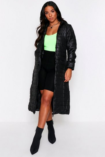 Womens Black Longline Puffer Coat