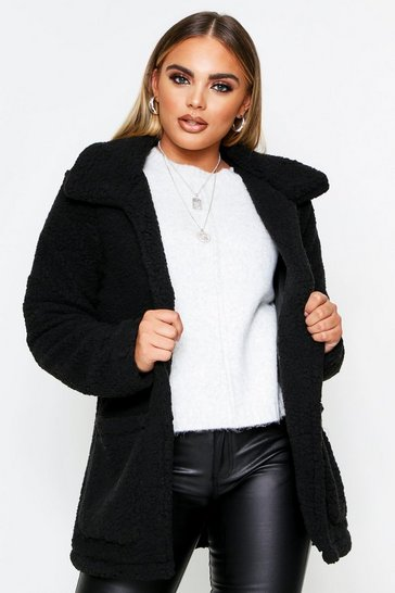 Womens Black Teddy Coat