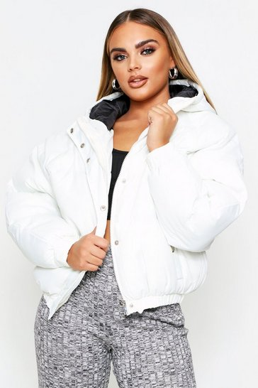 Womens Cream Puffer Jacket