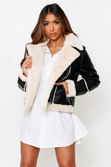Womens Black Shearling Biker Jacket