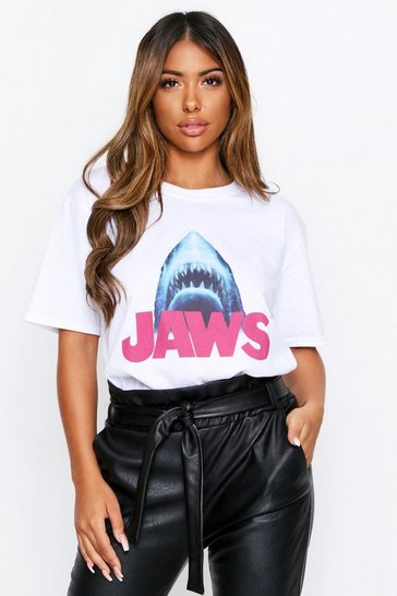 Womens White Jaws Licensed Oversized T-Shirt