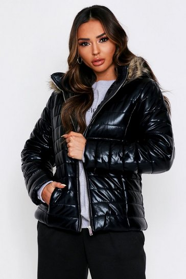 Womens Black Wetlook Fur Trim Hooded Puffer