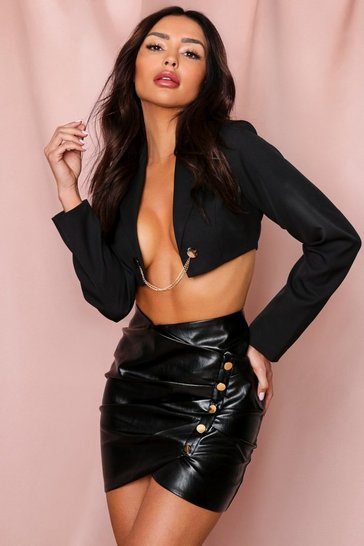 Black PU Leather Ruched Button Front Mini Skirt