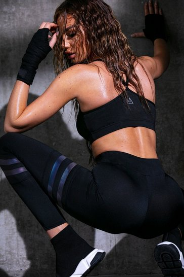Black Fit Irridescent Stripe Running Leggings