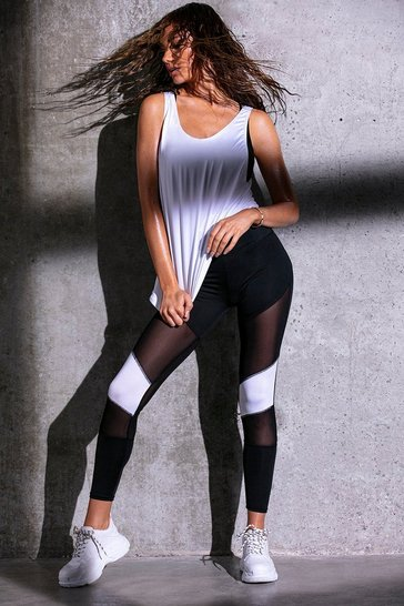 Black Fit Mesh Block Running Leggings