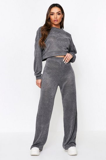 Grey Open Back Knitted Lounge Set