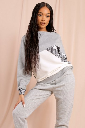 Womens Grey Animal Print Colour Block Sweatshirt