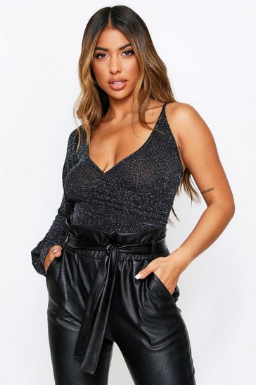 Black One Shoulder Puff Sleeve Glitter Bodysuit
