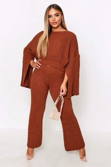Rust Knitted Chunky Crop & Wide Leg Set