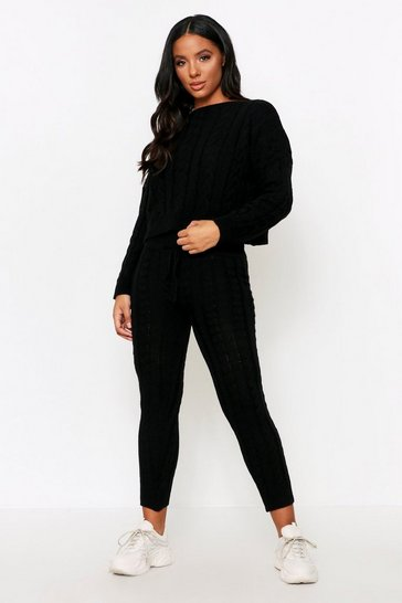 Womens Black Crew Neck Knitted Lounge Set