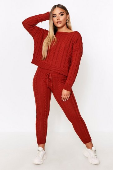 Womens Rust Crew Neck Knitted Lounge Set