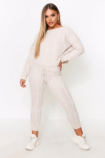 Womens Stone Crew Neck Knitted Lounge Set