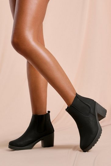 Womens Black Chunky Cleated Heel Chelsea Boot