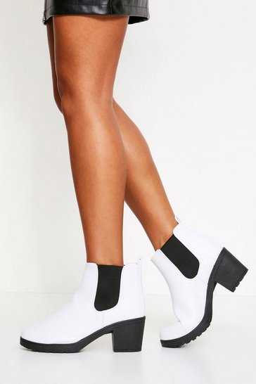 Womens White Cleated Heel Chelsea Boot