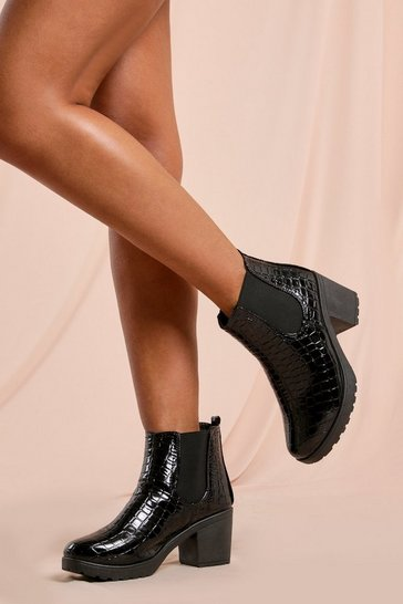 Womens Black Chunky Cleated Heel Chelsea Croc Boot