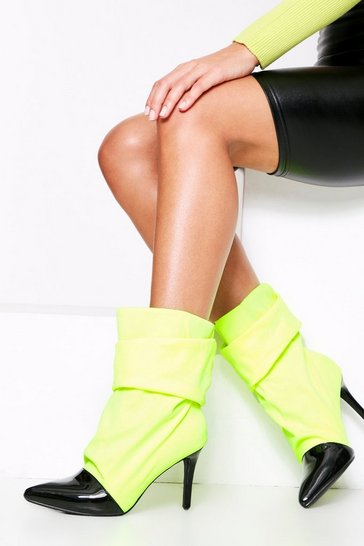 Lime Stretch Ruched Sock Boot