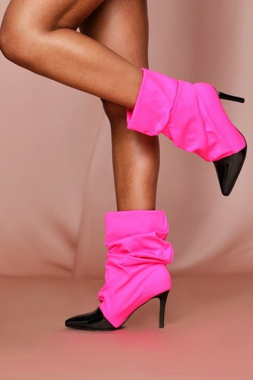 Pink Stretch Ruched Sock Boot