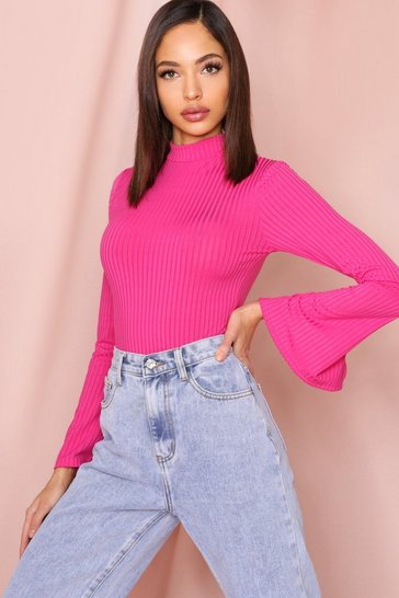 Fuchsia Chunky Rib High Neck Split Sleeve Bodysuit