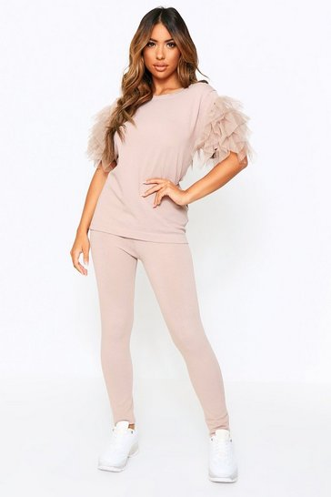 Beige Ruffle Sleeve Detail Knitted Set