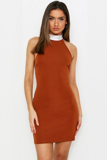 Womens Toffee Diamante Choker Mini Dress