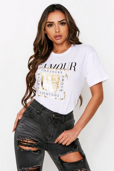 White L'Amour Foil Slogan T-Shirt