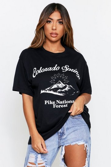 Black Colorado Springs Oversized T-Shirt