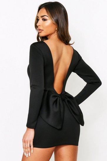 Black Long Sleeve Bow Back Mini Dress