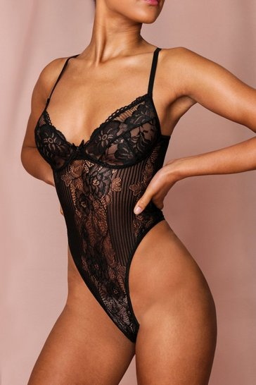 Black Lace Mesh Thong Bodysuit