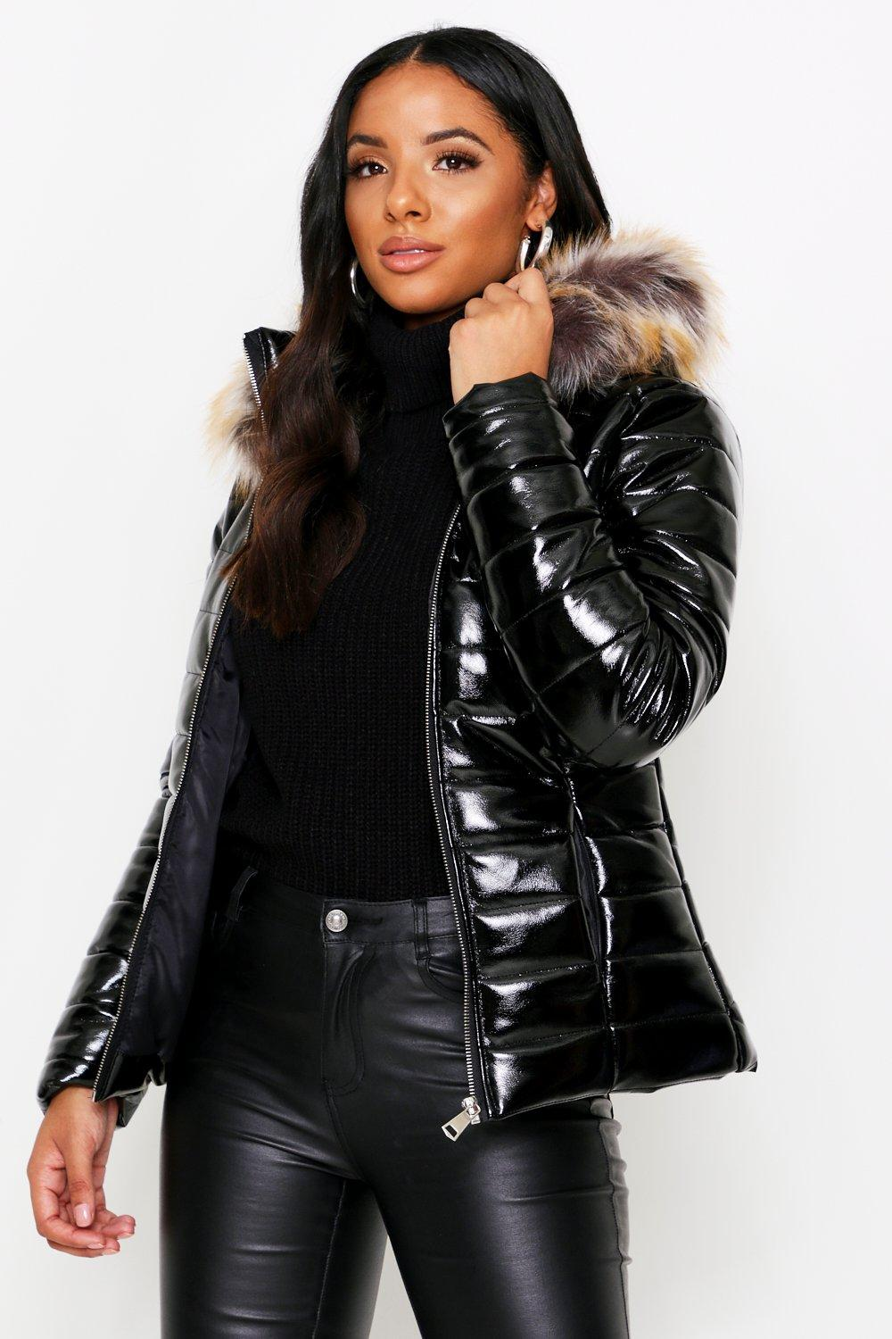 fresh styles quality products the sale of shoes Wetlook Puffer Coat With Fur Hood | Misspap Australia
