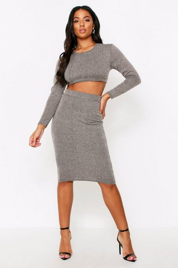 Womens Grey Brushed Rib Midi Skirt Co Ord