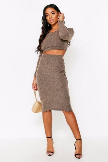 Sand Brushed Rib Midi Skirt Co Ord