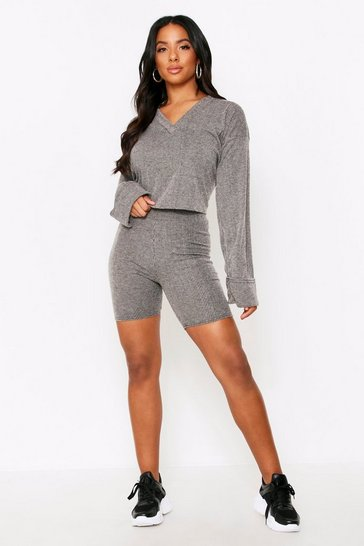 Womens Grey Brushed Rib Slinky Cycling Shorts Co Ord