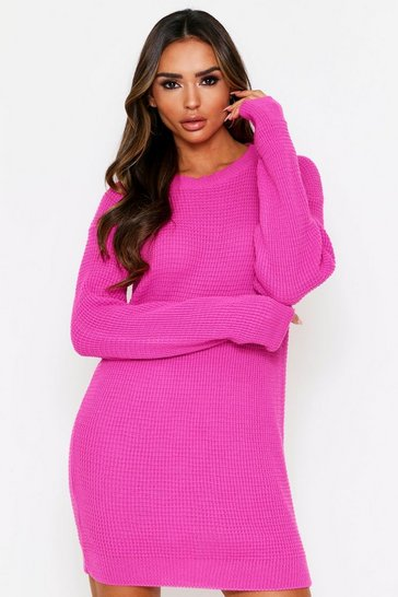 Fuchsia Basic Waffle Knit Jumper Dress