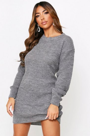 Womens Grey marl Basic Waffle Knit Jumper Dress