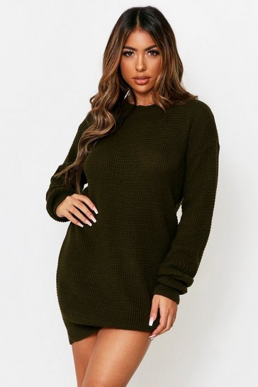 Khaki Basic Waffle Knit Jumper Dress