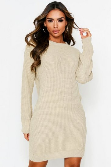 Oatmeal Basic Waffle Knit Jumper Dress
