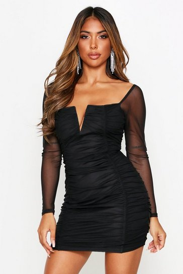 Womens Black Long Sleeve Ruched V Bar Mini Dress