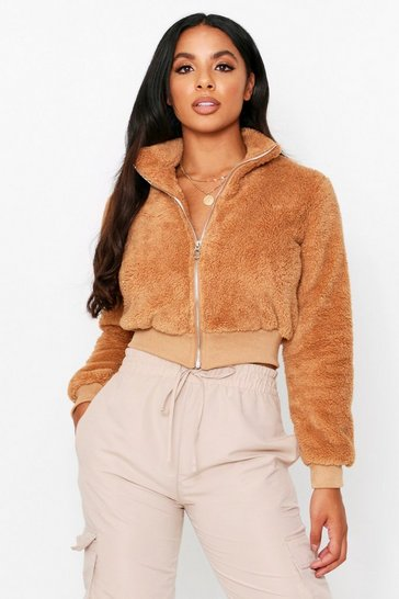 Womens Mocha Teddy Zip Up Jacket